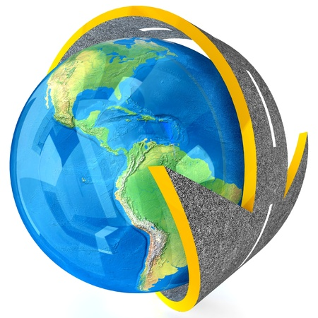 3d Globe and roads around it   photo