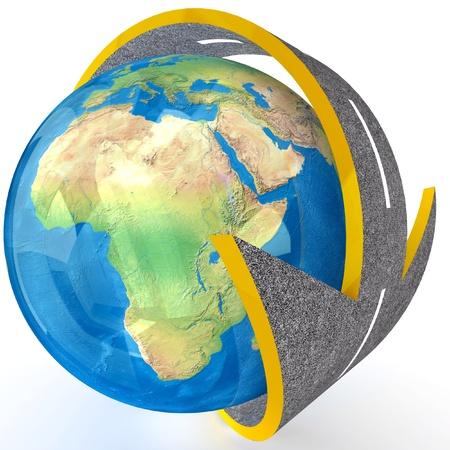 3d Globe and roads around it