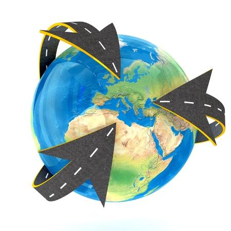 autobahn:  3d Globe and roads around it. Stock Photo