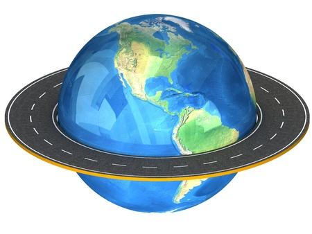 3d Globe and roads around it. photo