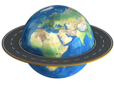 3d Globe and roads around it. Stock Photo
