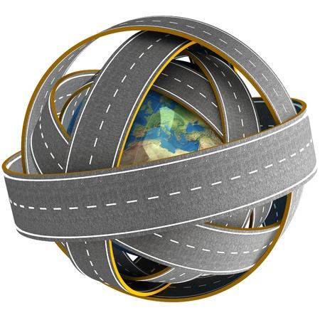 3d Globe and roads around it. Stock Photo - 18328270