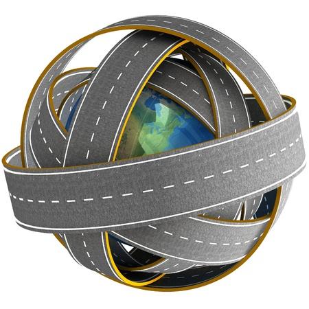3d Globe and roads around it.