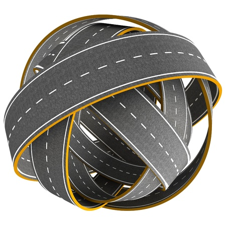 3D Tangle ball of road isolated on white background