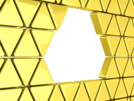 3D Golden triangles background photo