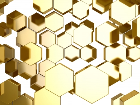 perspective grid:  3D gold honeycomb pattern background
