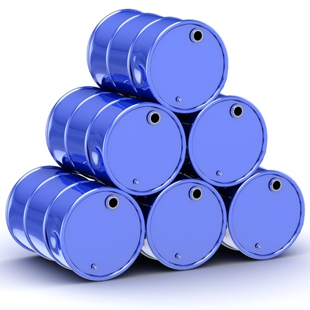 Blue Oil Barrels Isolated on White Stock Photo - 18327156