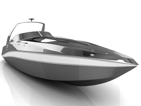 3D black speedboat isolated on a white background Stock Photo