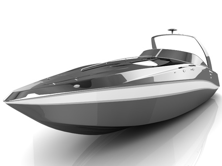 3D black speedboat isolated on a white background Stock Photo - 18326828