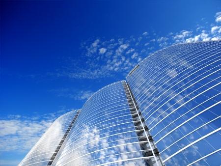 Skyscrapers cloudscape background  3D image