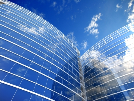 real estate background: Skyscrapers cloudscape background  3D image
