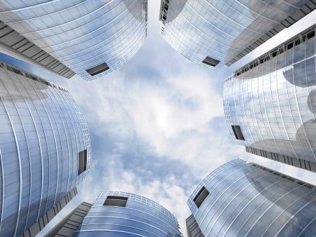 headquarter: Skyscrapers cloudscape background  3D image
