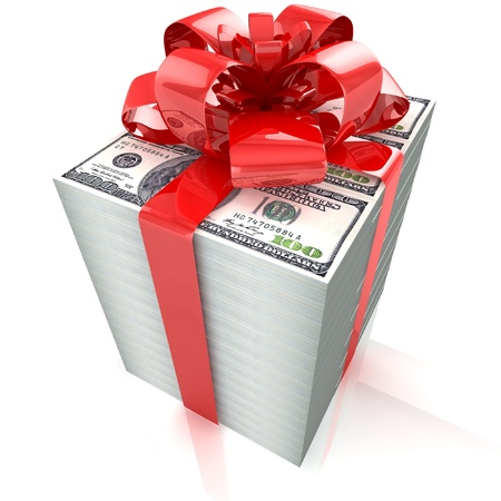 100 dollars gift pack isolated on white background 3d