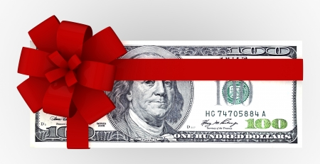 100 dollars gift pack isolated on white background 3d Stock Photo - 18327767
