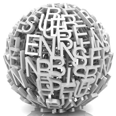 Random letters from word business forming a sphere