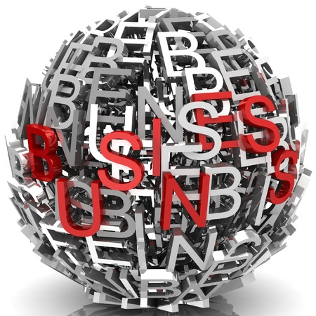 Random letters from word business forming a sphere Stock Photo - 18327239