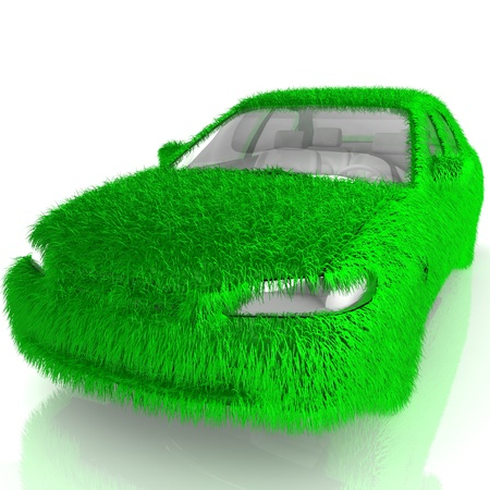 3D Grass covered car - eco green transport