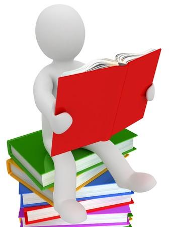Fantoccio 3D su una pila di libri, isolato su sfondo bianco