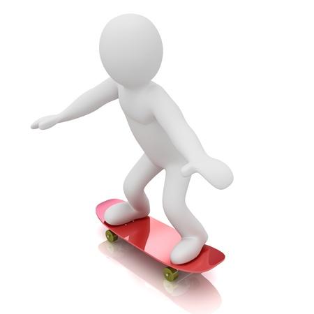 3D skateboarder  Isolated on white background