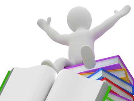 3D puppet on a pile of books, isolated on white background 写真素材