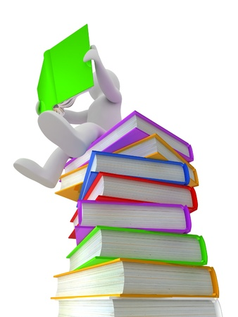 3D puppet on a pile of books, isolated on white background photo