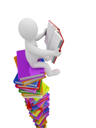 3D puppet on a pile of books, isolated on white background Stock Photo - 18326827