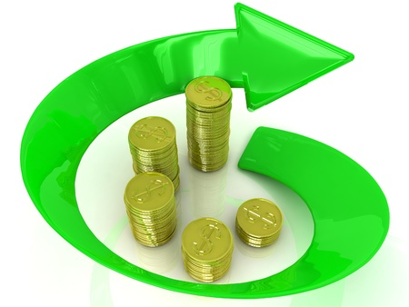 3D golden coins with an arrow on a white background