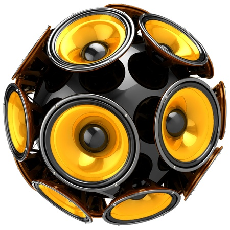 sub woofer:  3D audio speakers sphere isolated on white background  Stock Photo