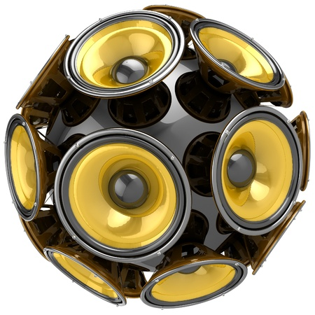 3D audio speakers sphere isolated on white background Stock Photo - 18328087