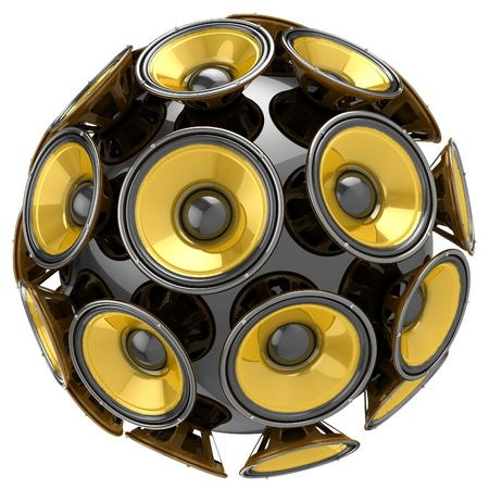 3D audio speakers sphere isolated on white background  photo