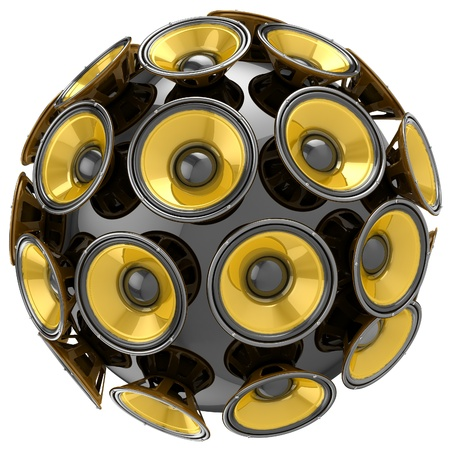 3D audio speakers sphere isolated on white background  Stock Photo