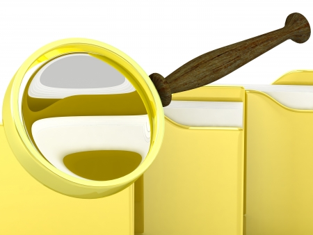 File search concept  folders and magnifying glass photo