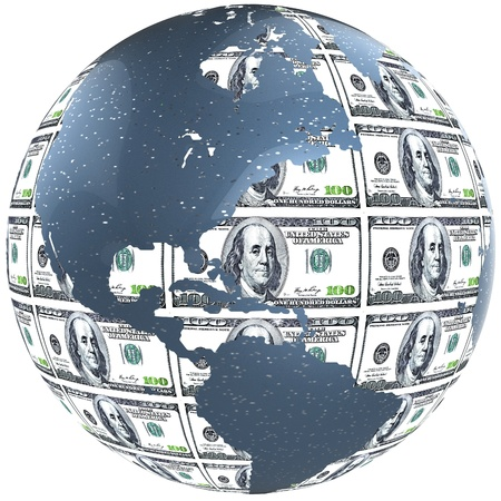 3D Dollar Globe  Stock Photo