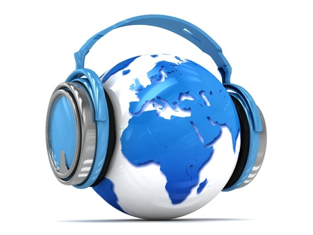 3d Earth globe with headphones, world music concept
