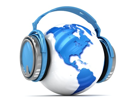 3d Earth globe with headphones, world music concept Stock Photo