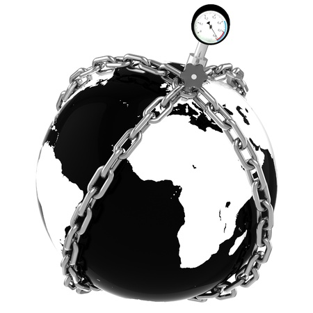 Glass globe with chains and manometer  European pressure  Crisis  Default   Elements of this image furnished photo