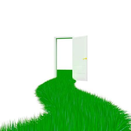 Grass doorway Stock Photo