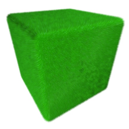 3D green grass fur cube isolated photo