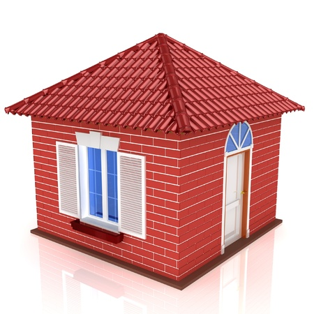 majority: 3D small house with red roof on a white background