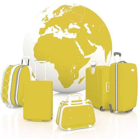 Luggage for travel with globe on white background  photo