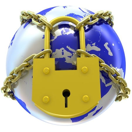 Earth globe close in chain and padlock  3D render