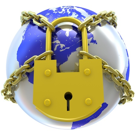 Earth globe close in chain and padlock  3D render  photo