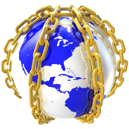 Earth globe close in chain  3D render  photo