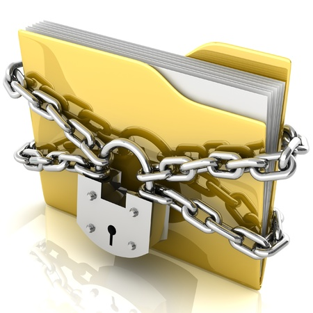 3D folder locked by chains isolated over white  photo