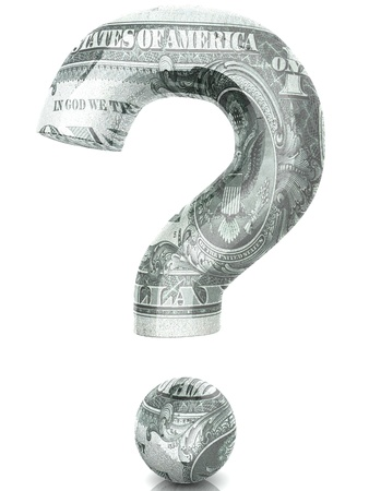 3D Dollar question Stock Photo