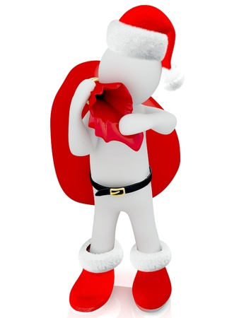 3D Santa Claus puppet on white background  Stock Photo - 18360382
