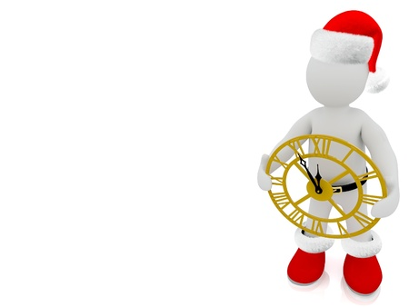 3D Santa Claus puppet on white background