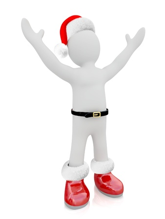3D Santa Claus puppet on white background Stock Photo - 18360186