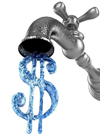 faucet water:  Money water flow from metal tap