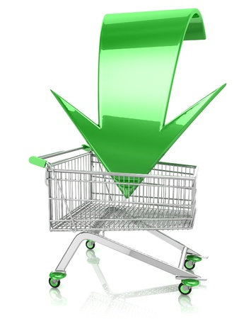 3D Shopping cart with arrow on white background Stock Photo - 18337652